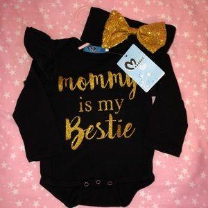 MOMMY IS MY BESTIE ONESIE w/ HEADBAND💛